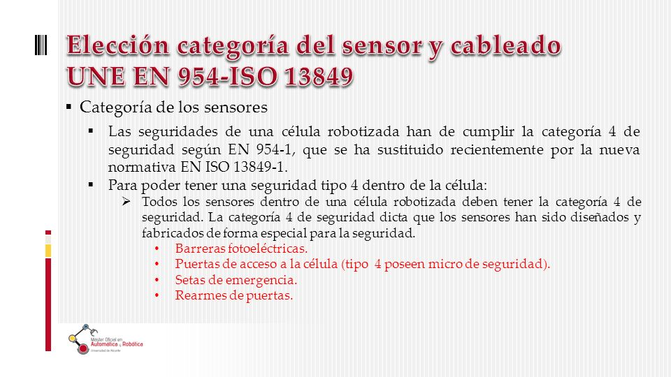 Elección categoría del sensor y cableado UNE EN 954-ISO 13849