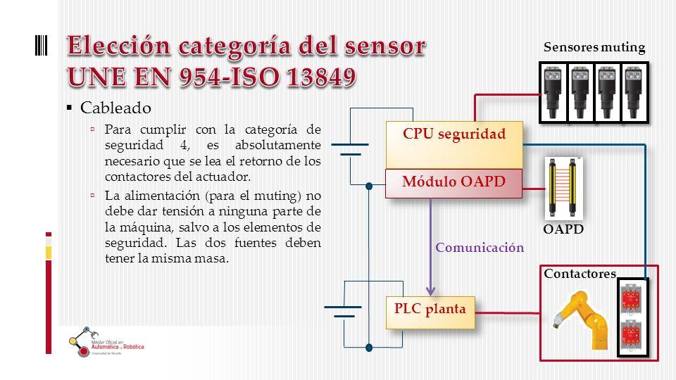 Elección categoría del sensor UNE EN 954-ISO 13849