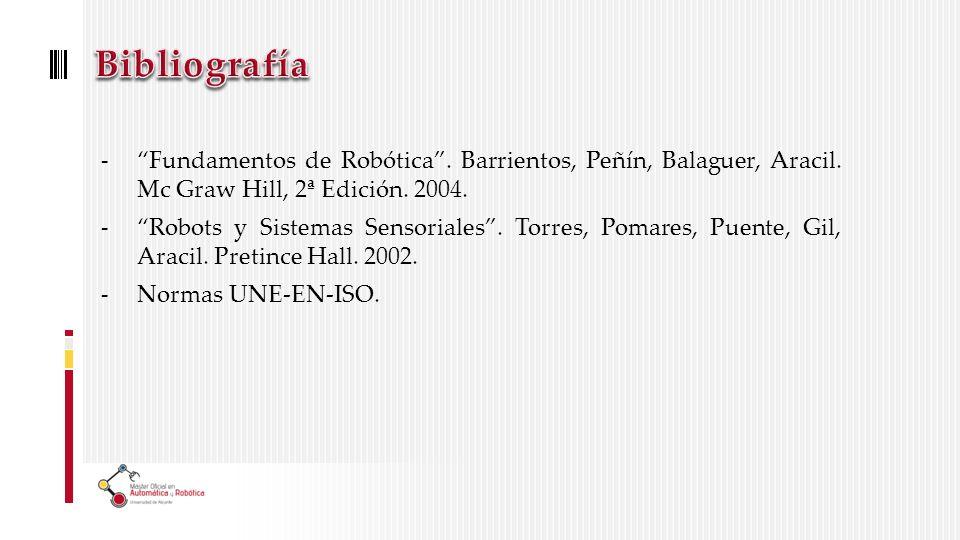 Bibliografía Fundamentos de Robótica . Barrientos, Peñín, Balaguer, Aracil. Mc Graw Hill, 2ª Edición. 2004.