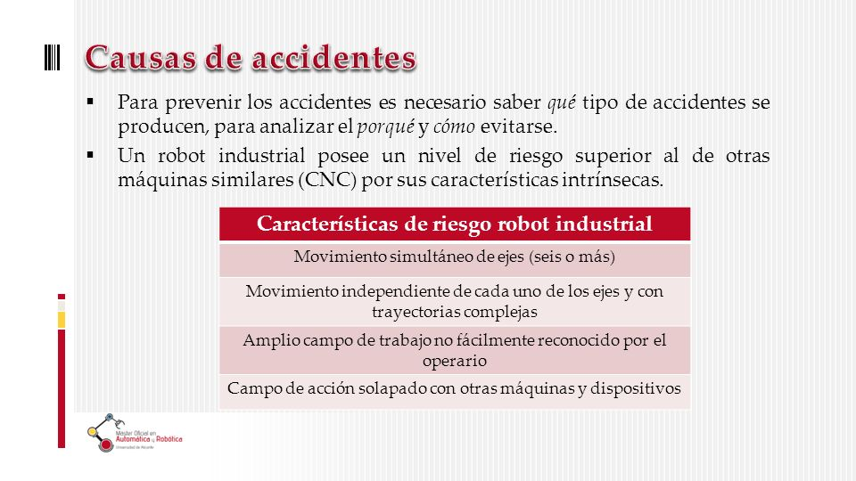 Características de riesgo robot industrial