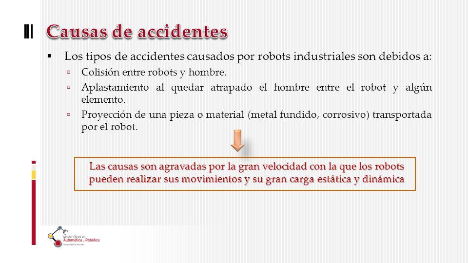 Causas de accidentes Los tipos de accidentes causados por robots industriales son debidos a: Colisión entre robots y hombre.