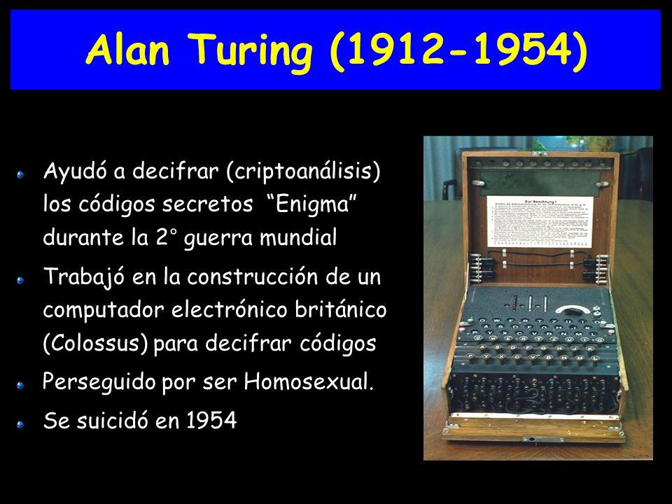 Alan Turing (1912-1954) Ayudó a decifrar (criptoanálisis) los códigos secretos Enigma durante la 2° guerra mundial.