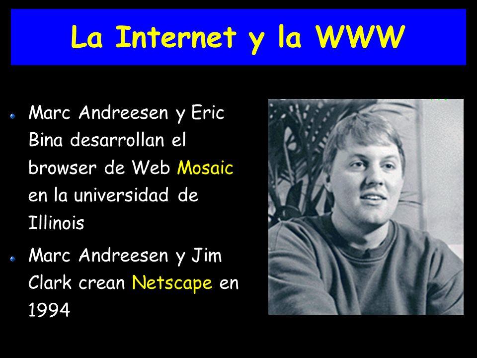 La Internet y la WWW Marc Andreesen y Eric Bina desarrollan el browser de Web Mosaic en la universidad de Illinois.