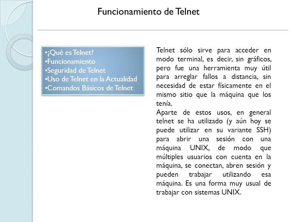 Funcionamiento de Telnet