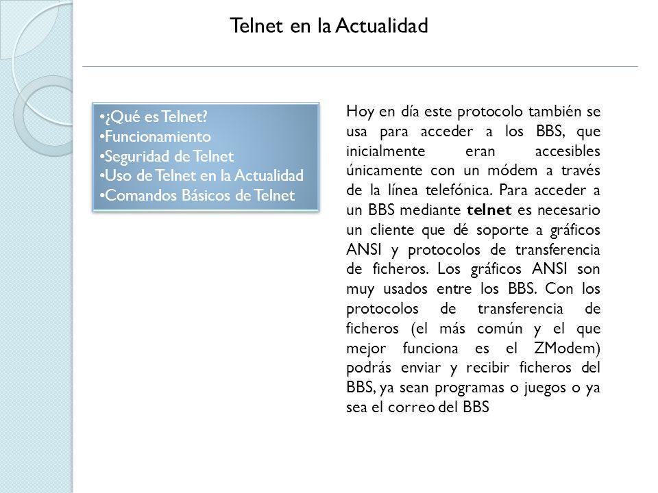 Telnet en la Actualidad