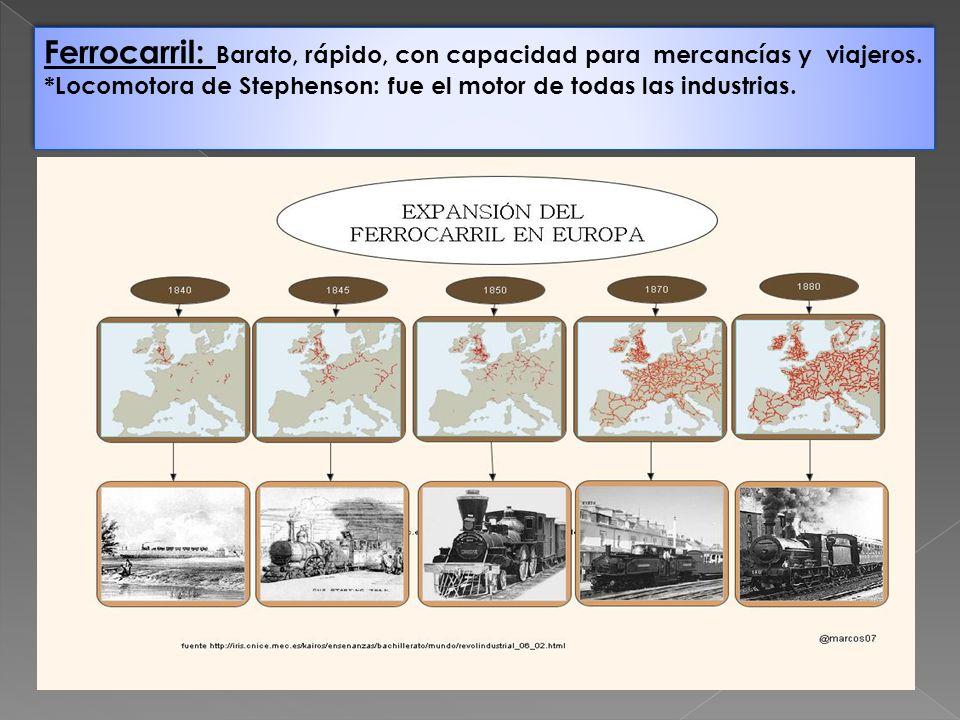 Ferrocarril: Barato, rápido, con capacidad para mercancías y viajeros.