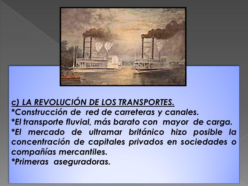 c) LA REVOLUCIÓN DE LOS TRANSPORTES.