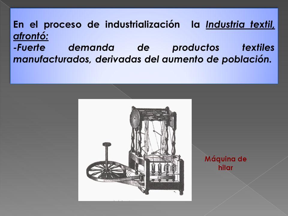 En el proceso de industrialización la Industria textil, afrontó: