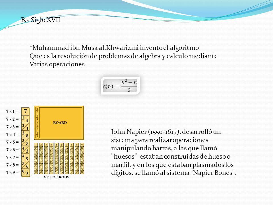 B.- Siglo XVII *Muhammad ibn Musa al.Khwarizmi invento el algoritmo. Que es la resolución de problemas de algebra y calculo mediante.