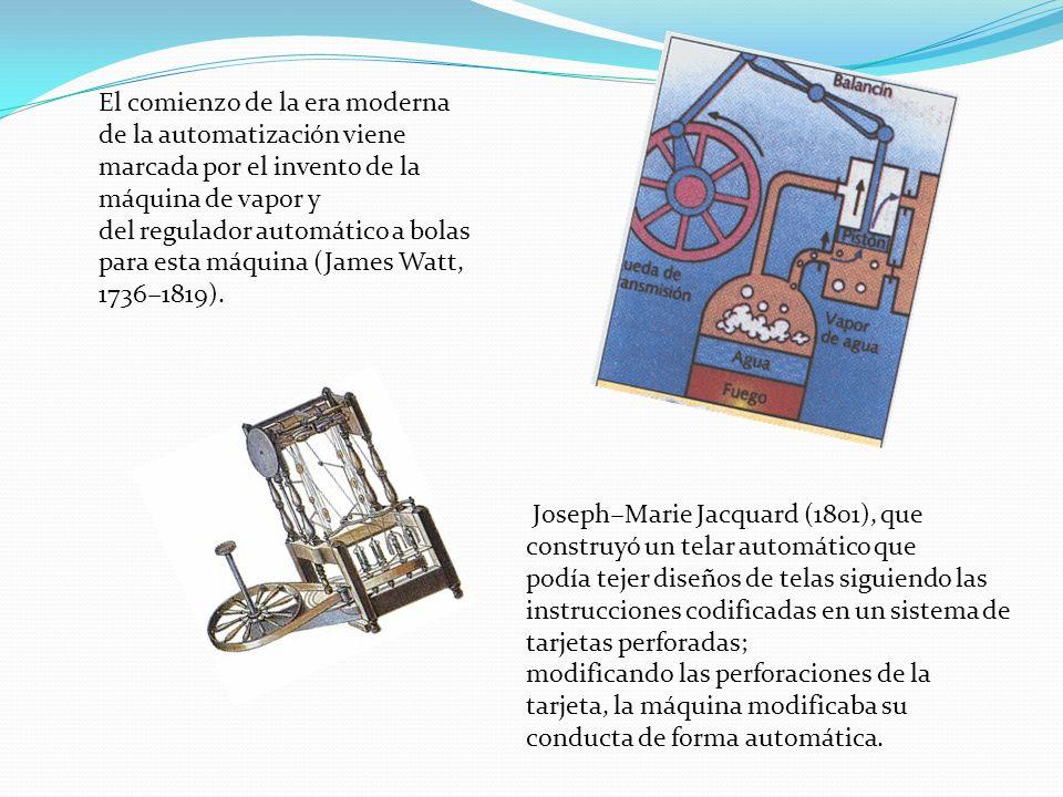 El comienzo de la era moderna de la automatización viene marcada por el invento de la máquina de vapor y del regulador automático a bolas para esta máquina (James Watt, 1736−1819).