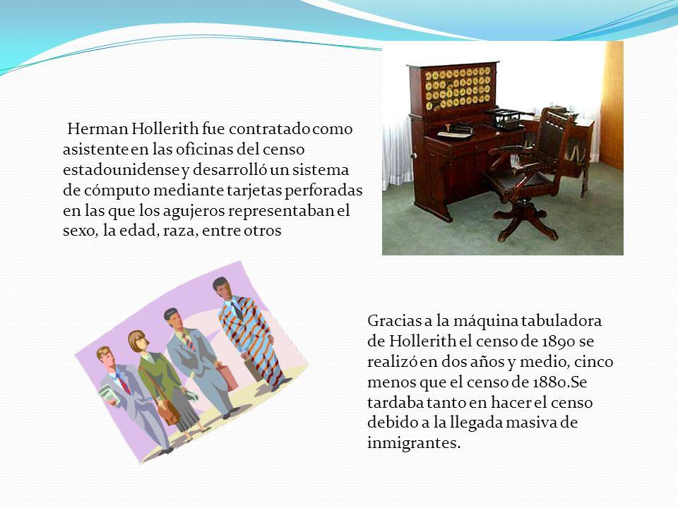 Herman Hollerith fue contratado como asistente en las oficinas del censo estadounidense y desarrolló un sistema de cómputo mediante tarjetas perforadas en las que los agujeros representaban el sexo, la edad, raza, entre otros