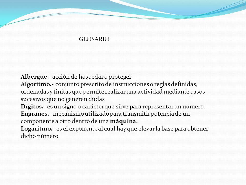 GLOSARIOAlbergue.- acción de hospedar o proteger.