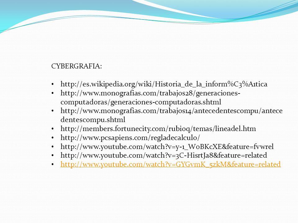 CYBERGRAFIA: http://es.wikipedia.org/wiki/Historia_de_la_inform%C3%A1tica.