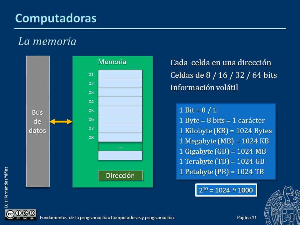 Computadoras La memoria Cada celda en una dirección