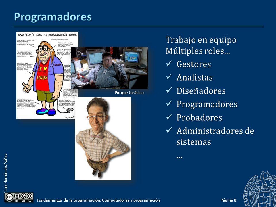Programadores Trabajo en equipo Múltiples roles... Gestores Analistas