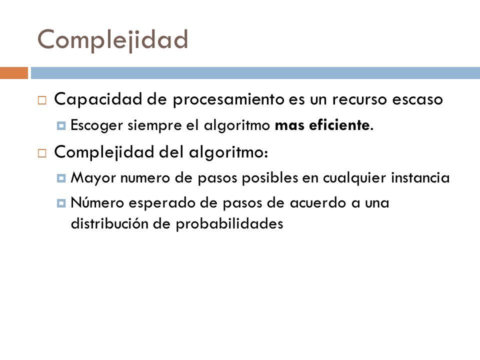Complejidad Capacidad de procesamiento es un recurso escaso