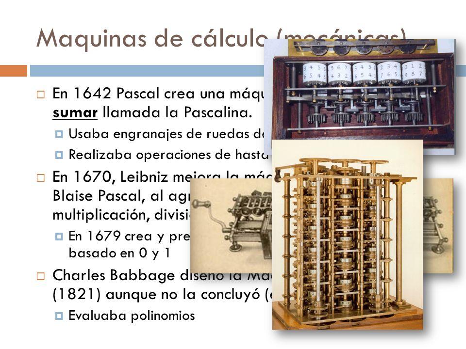 Maquinas de cálculo (mecánicas)