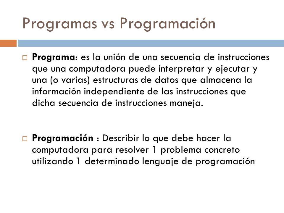 Programas vs Programación
