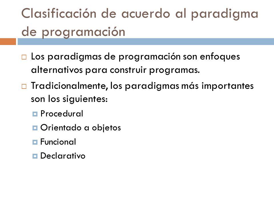 Clasificación de acuerdo al paradigma de programación