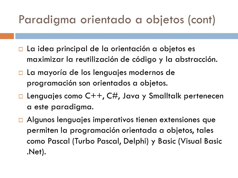 Paradigma orientado a objetos (cont)