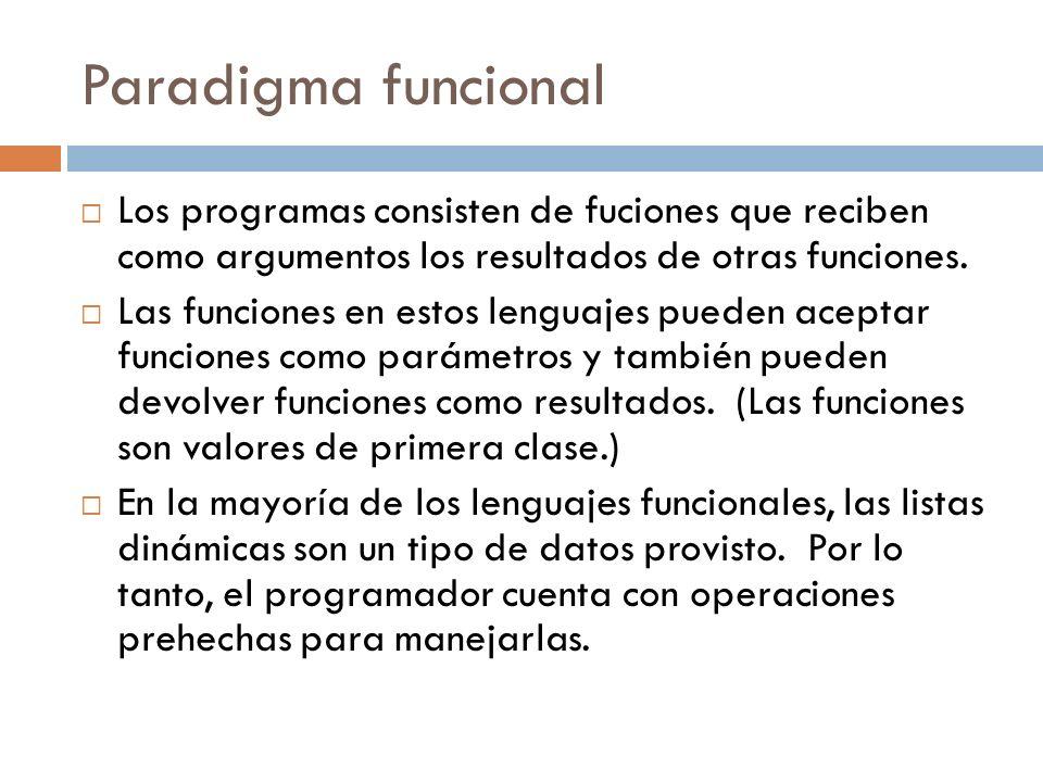 Paradigma funcional Los programas consisten de fuciones que reciben como argumentos los resultados de otras funciones.