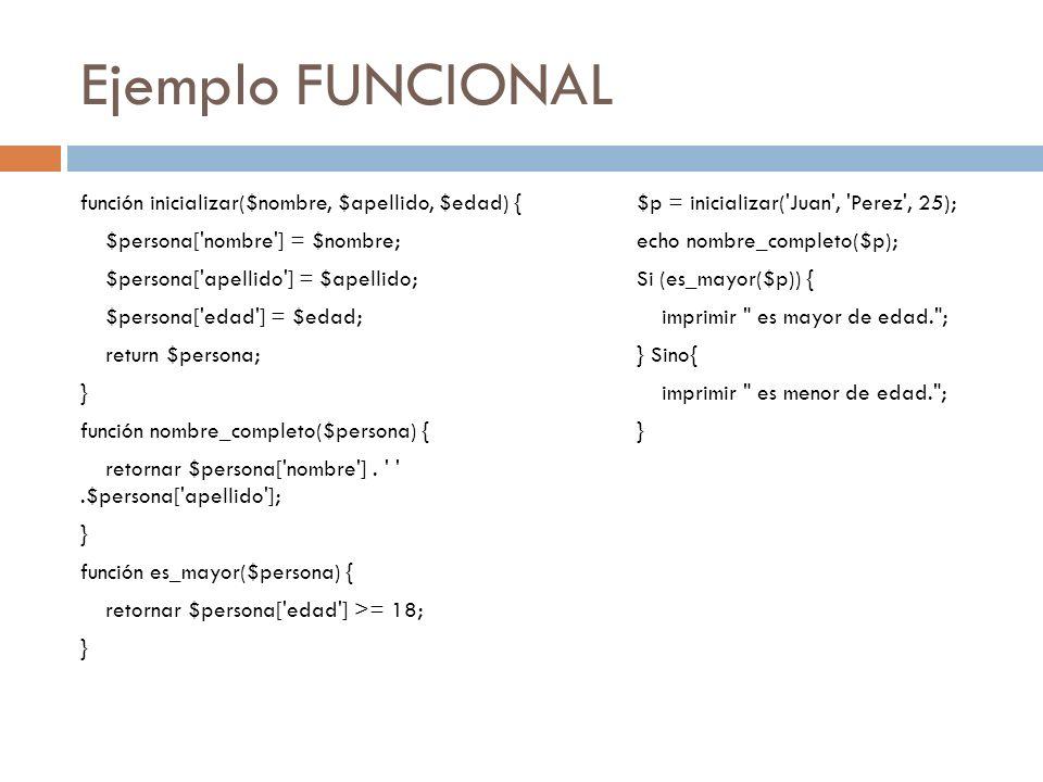Ejemplo FUNCIONAL función inicializar($nombre, $apellido, $edad) {