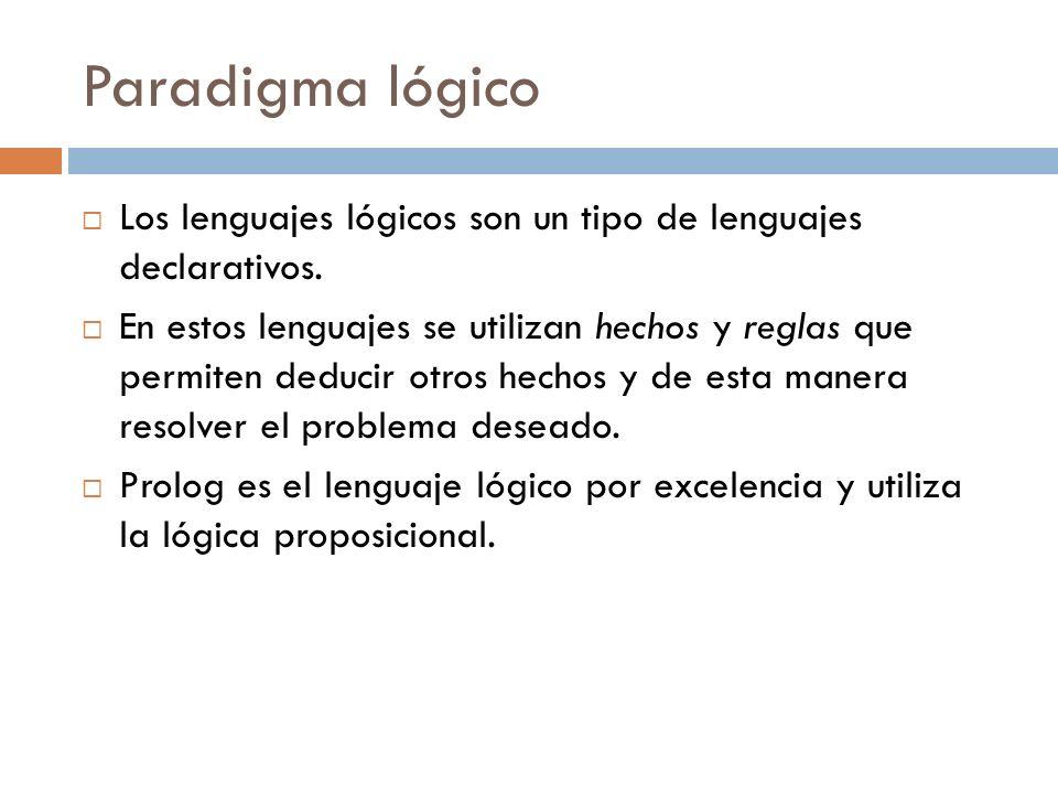 Paradigma lógico Los lenguajes lógicos son un tipo de lenguajes declarativos.
