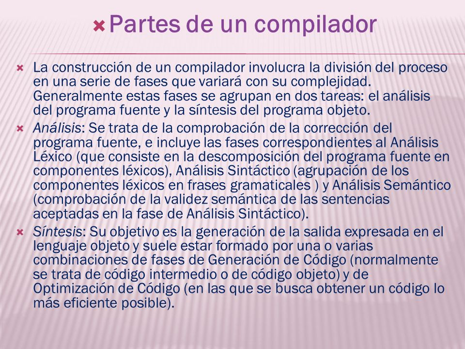 Partes de un compilador