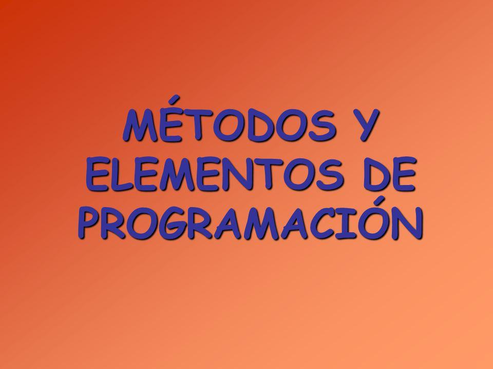 MÉTODOS Y ELEMENTOS DE PROGRAMACIÓN