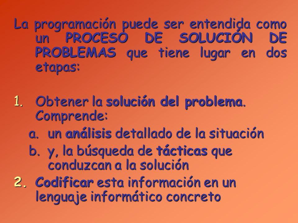 La programación puede ser entendida como un PROCESO DE SOLUCIÓN DE PROBLEMAS que tiene lugar en dos etapas: