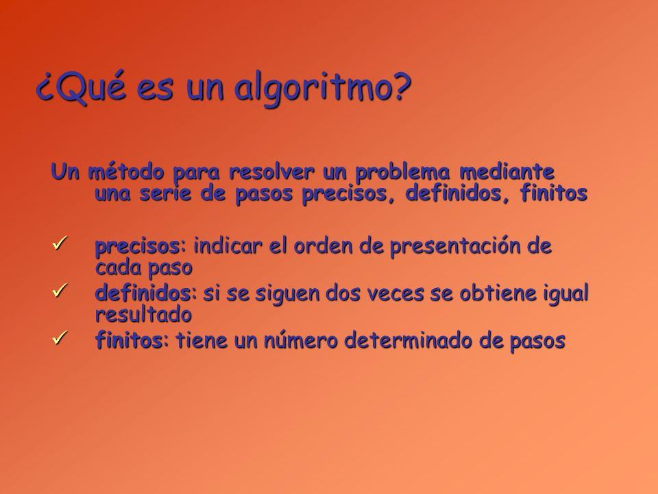 ¿Qué es un algoritmo Un método para resolver un problema mediante una serie de pasos precisos, definidos, finitos.