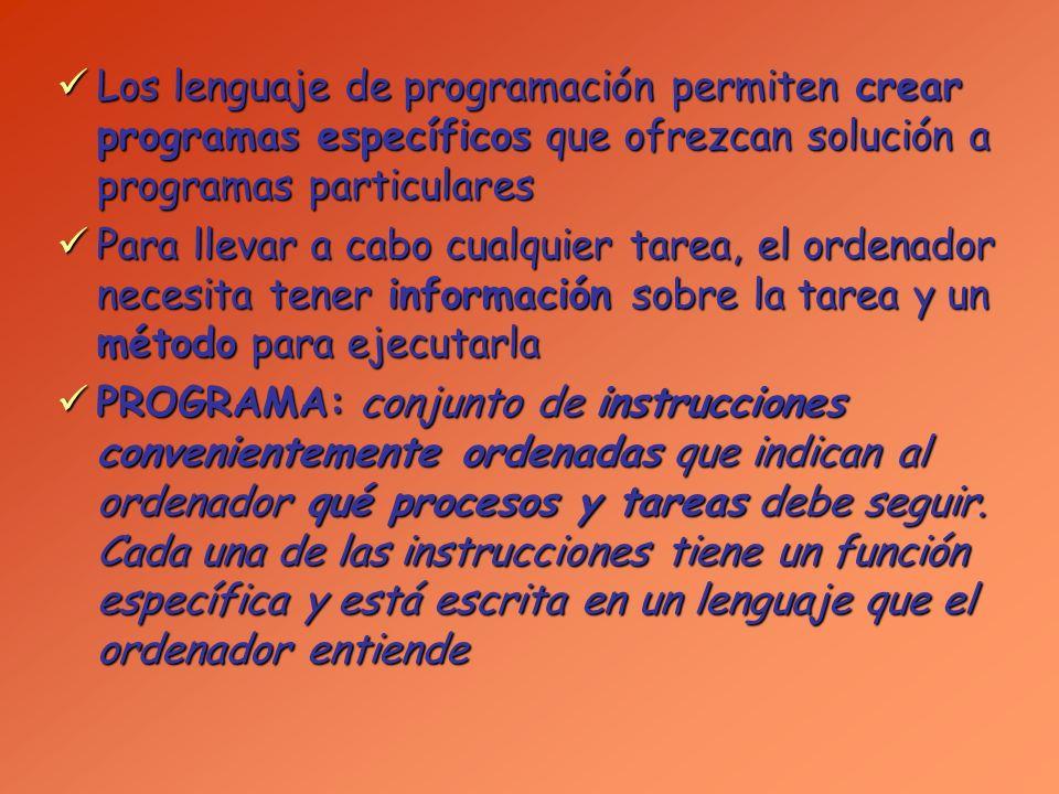 Los lenguaje de programación permiten crear programas específicos que ofrezcan solución a programas particulares