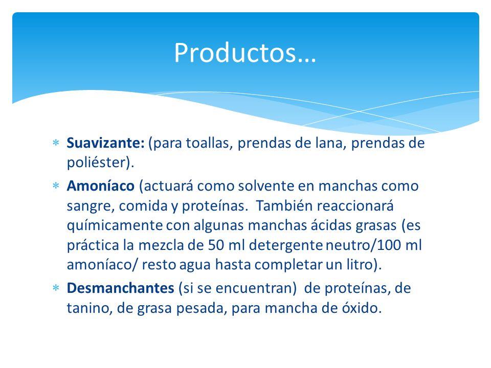 Productos… Suavizante: (para toallas, prendas de lana, prendas de poliéster).