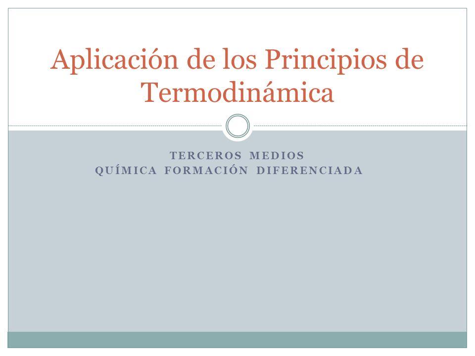 Aplicación de los Principios de Termodinámica