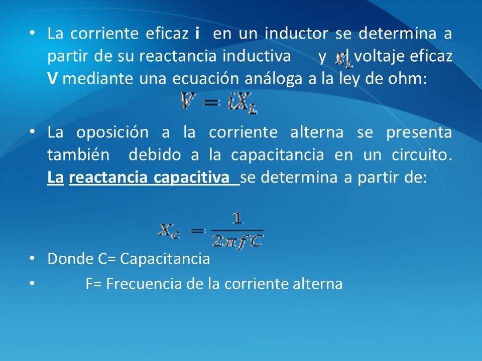 La corriente eficaz i en un inductor se determina a partir de su reactancia inductiva y el voltaje eficaz V mediante una ecuación análoga a la ley de ohm: