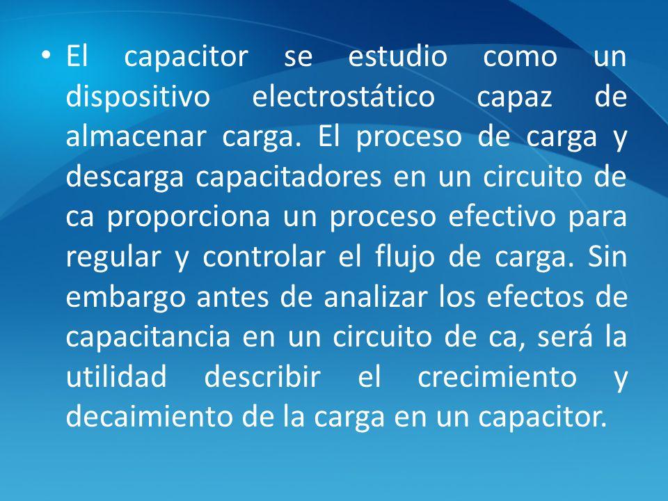 El capacitor se estudio como un dispositivo electrostático capaz de almacenar carga.