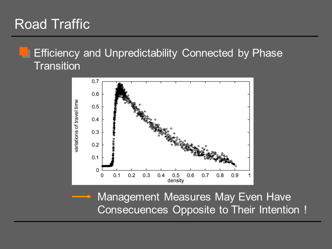 Road Traffic Efficiency and Unpredictability Connected by Phase Transition.