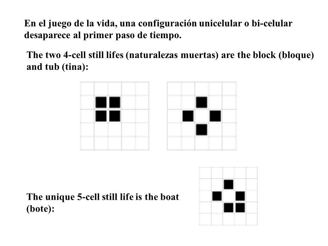 En el juego de la vida, una configuración unicelular o bi-celular desaparece al primer paso de tiempo.