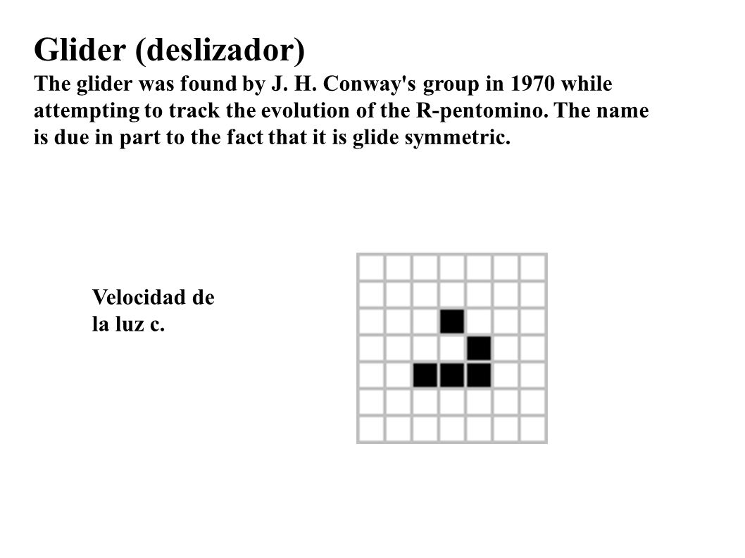Glider (deslizador) The glider was found by J. H. Conway s group in 1970 while. attempting to track the evolution of the R-pentomino. The name.
