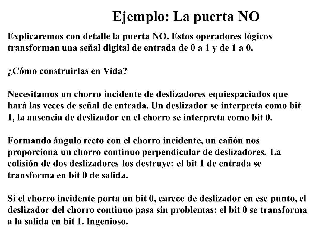 Ejemplo: La puerta NO Explicaremos con detalle la puerta NO. Estos operadores lógicos transforman una señal digital de entrada de 0 a 1 y de 1 a 0.