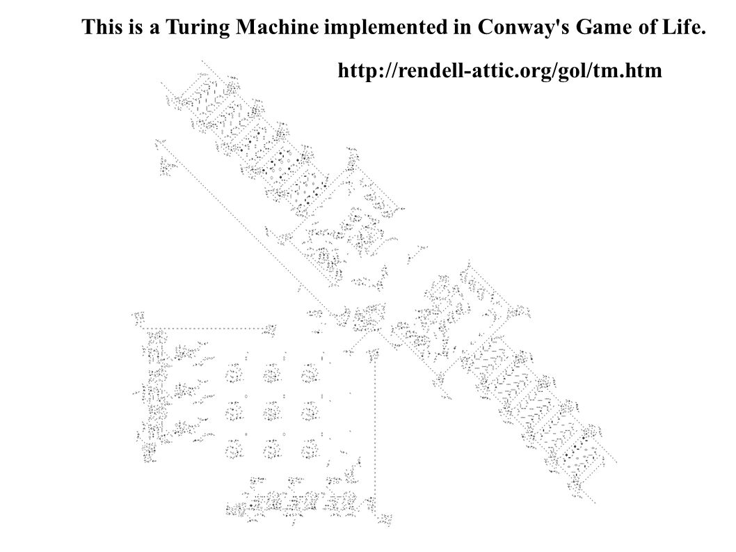 This is a Turing Machine implemented in Conway s Game of Life.