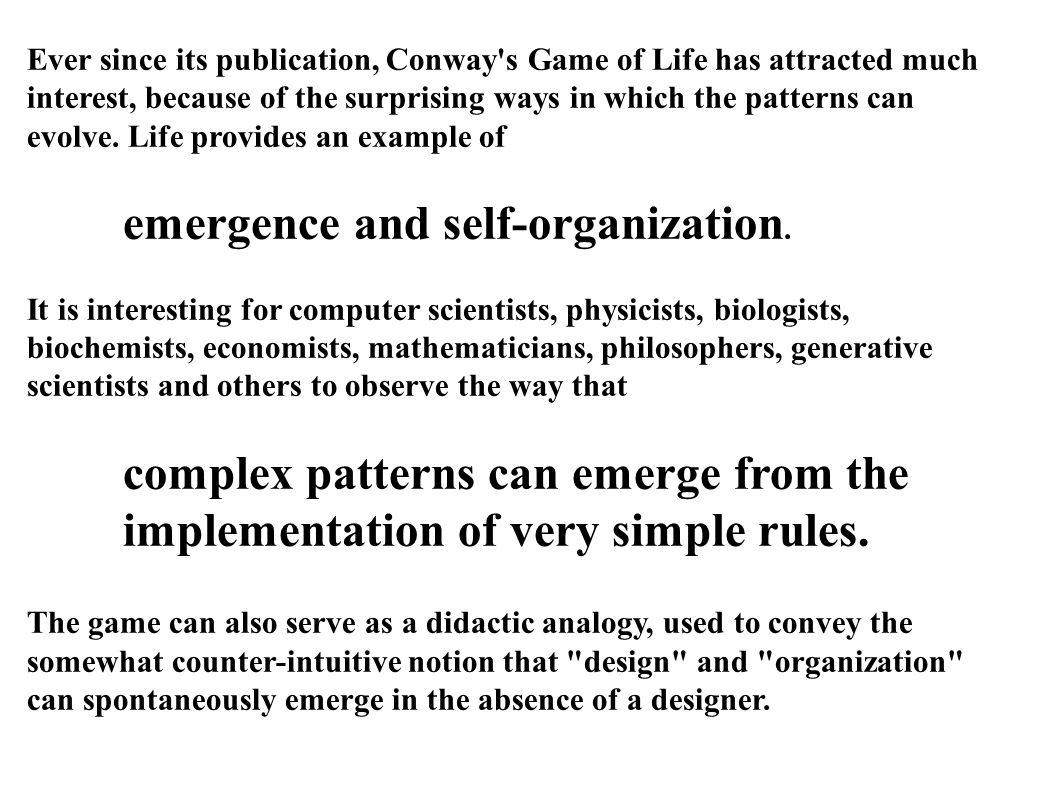 emergence and self-organization.