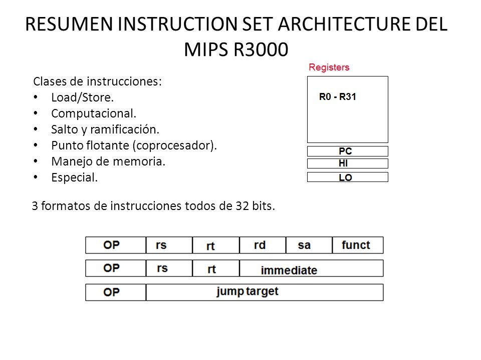 RESUMEN INSTRUCTION SET ARCHITECTURE DEL MIPS R3000