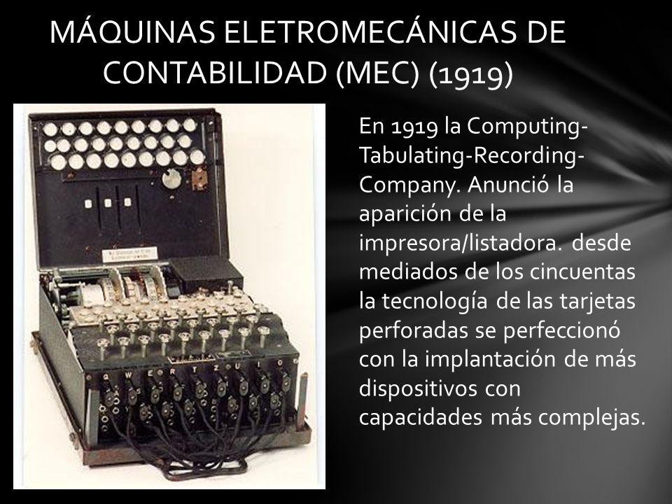 MÁQUINAS ELETROMECÁNICAS DE CONTABILIDAD (MEC) (1919)