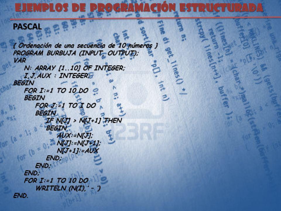 EJEMPLOS DE PROGRAMACIÓN ESTRUCTURADA