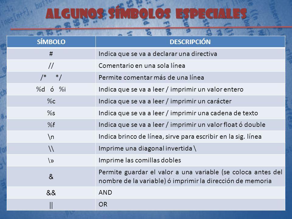 ALGUNOS SÍMBOLOS ESPECIALES