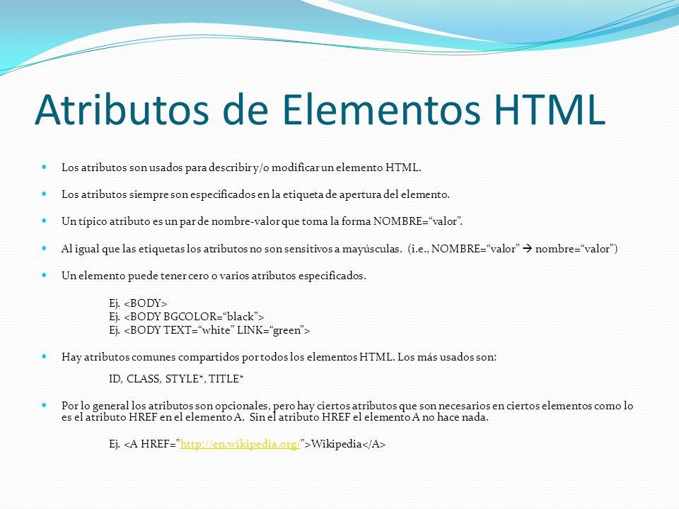 Atributos de Elementos HTML