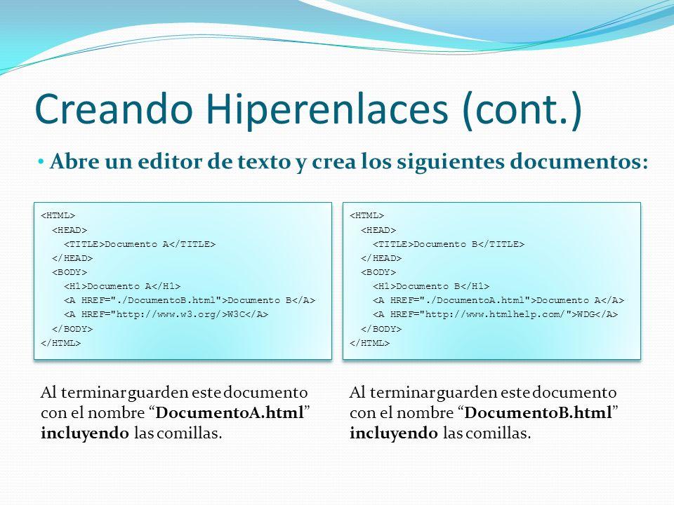 Creando Hiperenlaces (cont.)