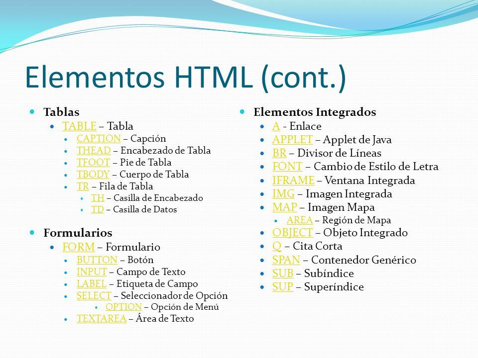Elementos HTML (cont.) Tablas Elementos Integrados Formularios