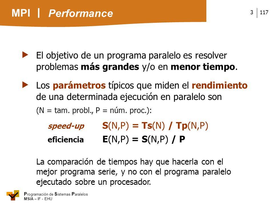 Performance  El objetivo de un programa paralelo es resolver problemas más grandes y/o en menor tiempo.